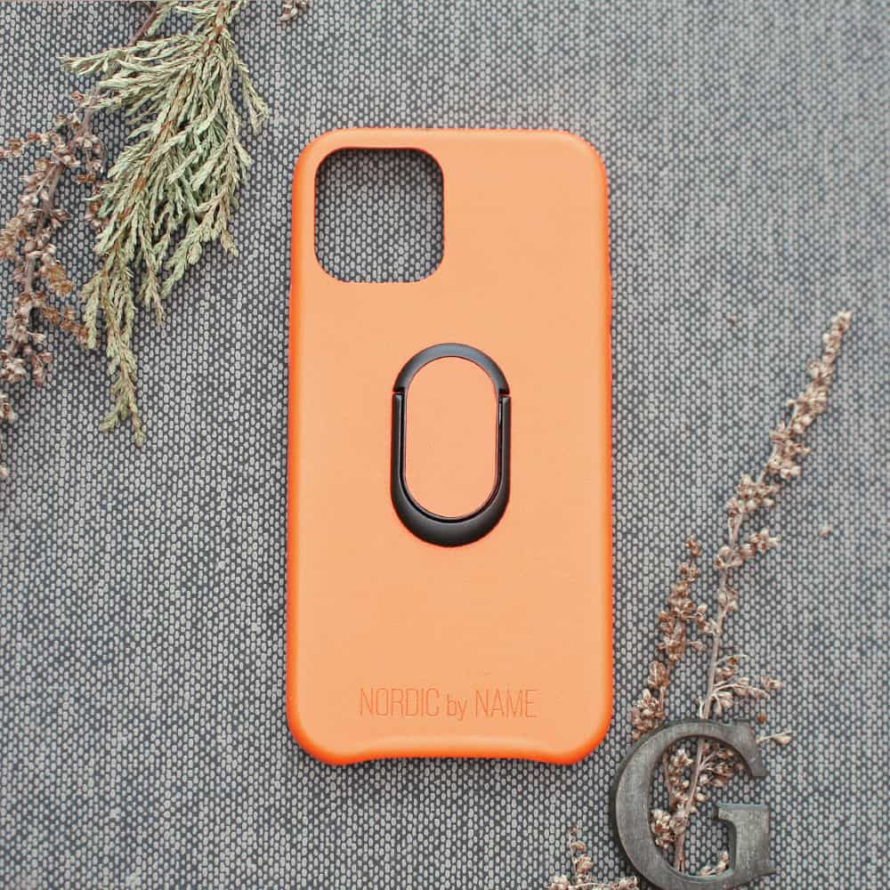 iPhone 12 Mini bagside med finger holder, Orange