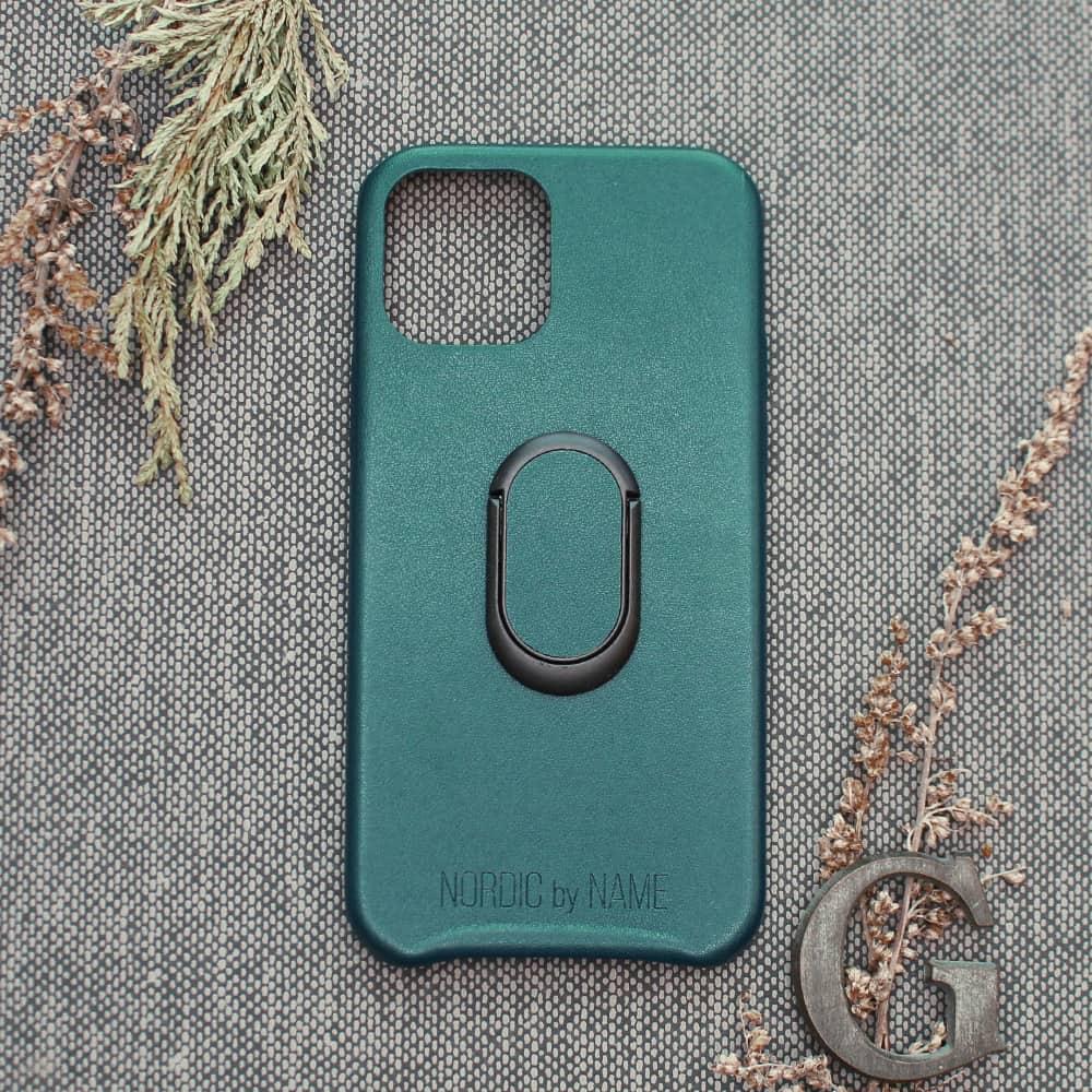iPhone 12/12 Pro bagside med finger holder, Petroleum grøn
