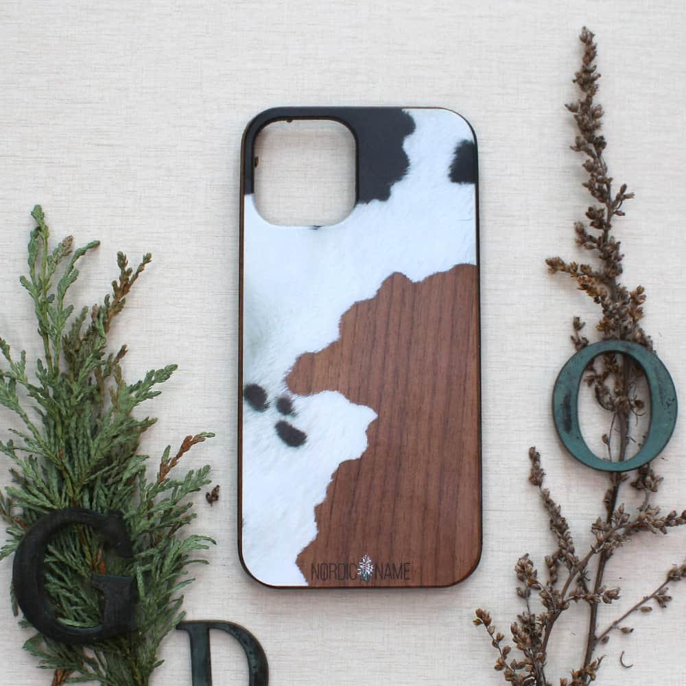 iPhone 12 mini bagside i træ, ko