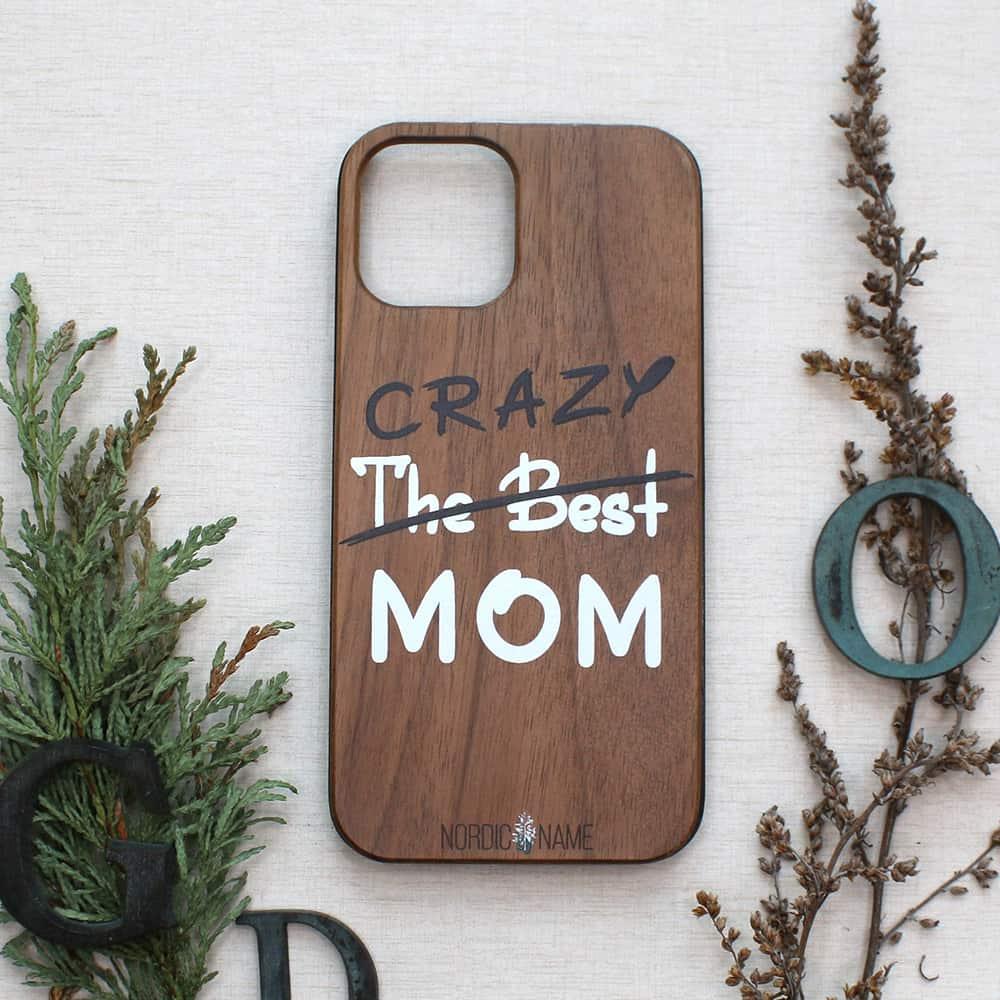 iPhone 12/12 Pro bagside i træ, Crazy mom
